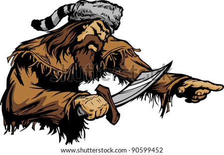 Frontiersman Pioneer Vector Mascot Holding a Bowie Knife and wearing a Coonskin Hat