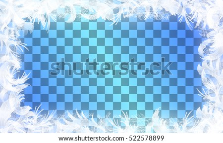 Frost glass pattern. Winter frame on transparent background. Vector christmas illustration.