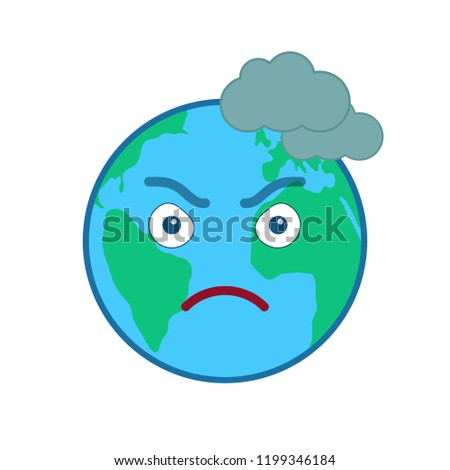 Frowning world globe emoticon. Mad blue planet emoji. Social communication and weather widget. Threatening face showing facial emotion. Funny earth with clouds icon. Weather forecast vector