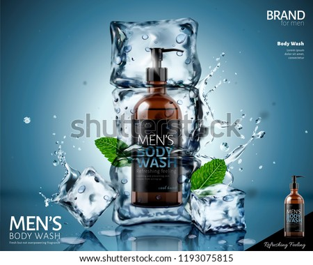 Frozen body wash in ice cubes with mint leaves and splashing water in 3d illustration on blue background
