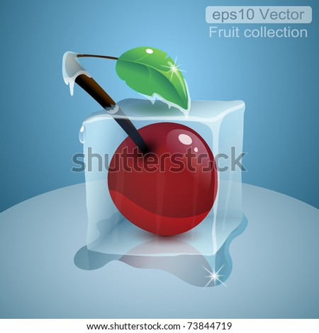 frozen cherry in ice cube