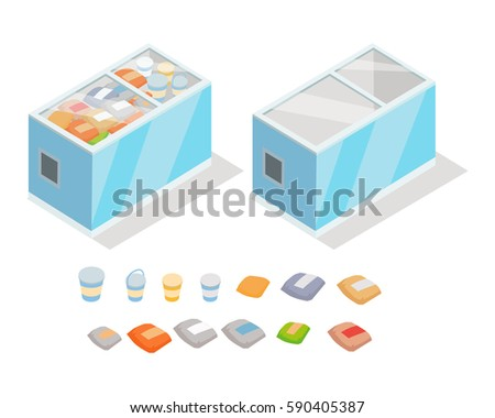 Frozen food in shop freezer isometric vector illustration. Chilled products on supermarket fridge 3d model isolated on white background. Full and empty groceries refrigerator isometry for games, apps