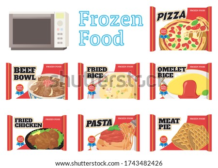 frozen food set. Vector illustration