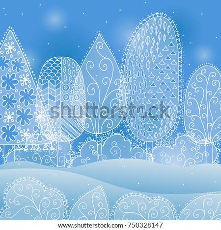 frozen lace forest winter landscape vector background