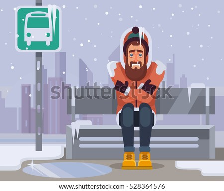 Frozen man character waiting for bus for long time. Vector flat cartoon illustration