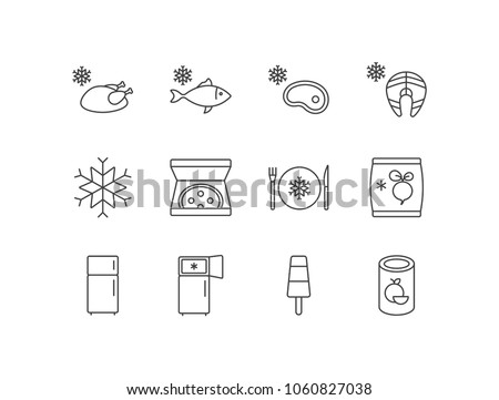 Frozen products line icons set with chicken, fish, meat, salmon, snowflake, pizza, dinner, vegetables, refrigerator, popsicle, orange juice.