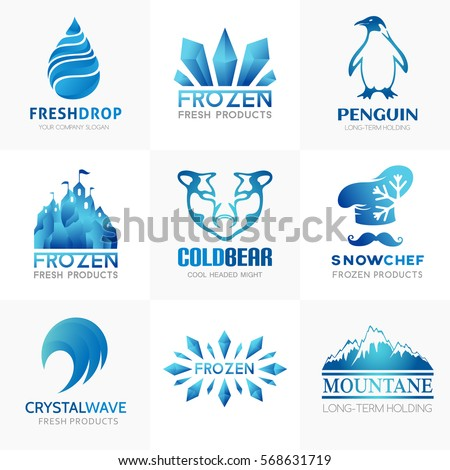 Frozen products logo collection. Conceptual symbols for term holding company or ice cream store and cafe. Bear, penguin, castle, crystal,chef, drop icons set.