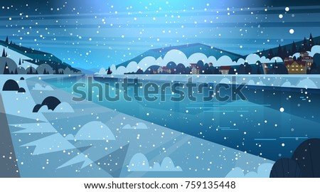 frozen river night view with