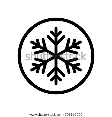 Frozen snowflake sign / icon, black, isolated on white background