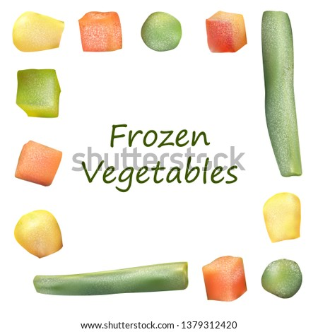 Frozen vegetables. Chopped vegetables isolated in a square. Peas, corn, pepper, carrot, french bean. Realistic vector illustration. #1379312420