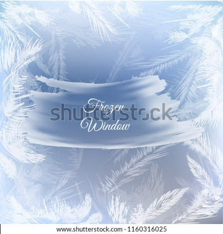 Frozen window hoarfrost on blue background. Rime, frost, ice textured vector background.