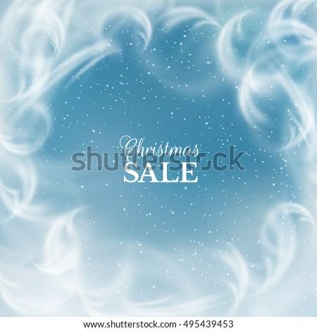 Frozen window with falling snow holiday vector background. Eps10.