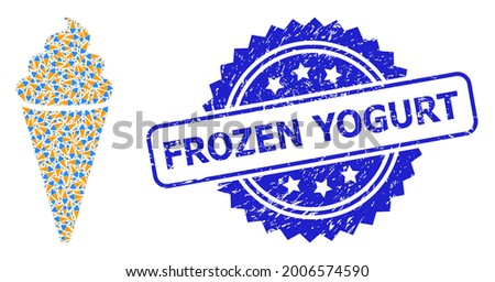 Frozen Yogurt unclean stamp and vector fractal mosaic ice cream. Blue stamp seal contains Frozen Yogurt text inside rosette. Vector mosaic is constructed from repeating rotated ice cream icons. Foto stock ©
