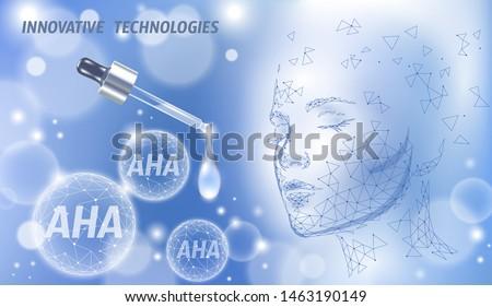 Fruit acid beauty salon peeling. Female face AHA glycolic lactic acids exfoliant anti-aging rejuvenation facial serum. Medical health skin treatment low poly polygonal sphere vector illustration