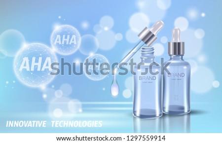Fruit acid beauty salon peeling. Glass bottle droplet pipette AHA glycolic lactic acids exfoliant anti-aging rejuvenation serum. Medical skin treatment low poly polygonal vector illustration