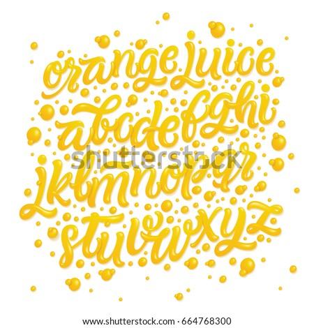 Fruit alphabet made of fresh natural orange juices isolated on white background. Vector illustration.