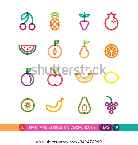 fruit and berries bright universal icons