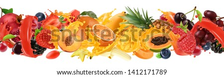 Fruit and berries burst. Splash of juice. Sweet tropical fruits and mixed berries. Orange, mango, banana, pineapple, strawberry, cherry. 3d vector realistic set