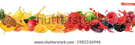 Fruit and berries burst. Splash of juice. Sweet tropical fruits and mixed berries. Watermelon, banana, pineapple, strawberry, orange, mango. 3d realistic objects Foto d'archivio ©