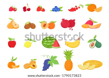 Fruit and berries in cartoon style. Raspberries, strawberries, grapes, currants and blueberries. Lemon, peach, apple, pear, orange watermelon avocado and melon set. Vector illustration .