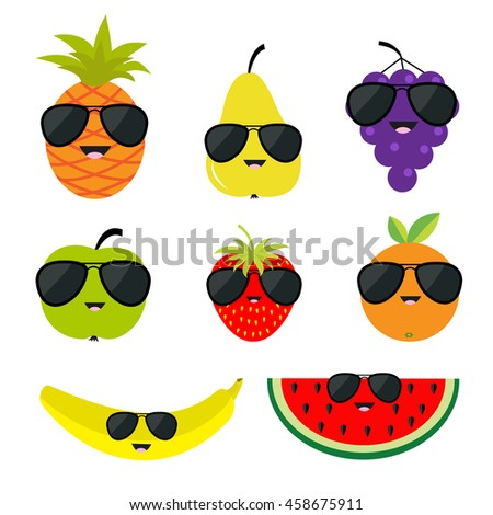Fruit and berry set sunglasses eyeglasses. Cartoon character face. Banana, strawberry, orange, pineapple, grape, mellon, watermelon, pear apple, slice Isolated Flat design Vector