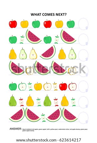 Fruit and berry themed educational logic game training sequential pattern recognition skills: What comes next in the sequence? Answer included.