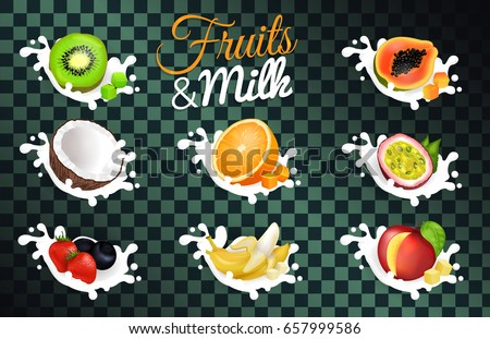 fruit and milk vector poster