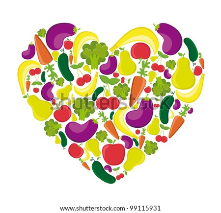 fruit and vegetable heart. vector illustration