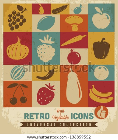 Fruit and vegetable icons set.Vector - stock vector