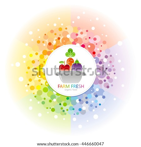 Fruit and vegetable logo icon in rainbow circle with pan, apple, carrot, eggplant.  For farmers market, organic dieting, restaurant menu, thanksgiving harvesting
