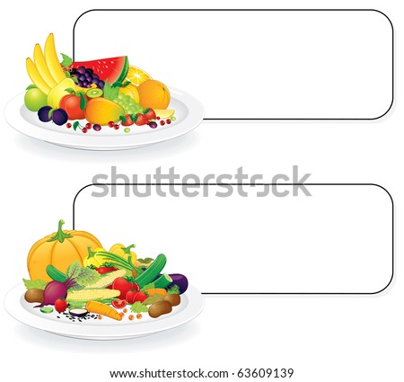 Fruit and Vegetable plates with sign for your text - all elements separated