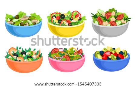Fruit and Vegetable Salad Served in Bowls Vector Set