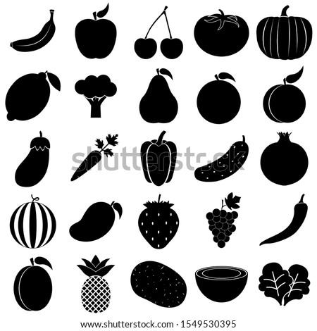 Fruit and vegetable set icon, logo isolated on white background