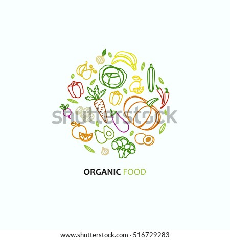 Fruit and vegetable vector circle on a white background in trendy linear style - healthy lifestyle illustration for print, web.