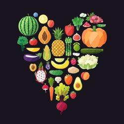 Fruit and vegetable vector heart background. Modern flat design. Healthy food background.