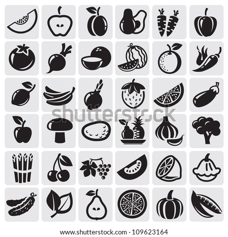 Fruit and Vegetables icon set - stock vector