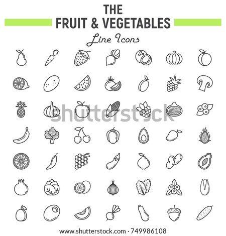 Fruit and Vegetables line icon set, food symbols