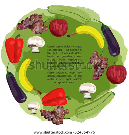 fruit and vegetables on green