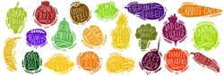 Fruit and vegetables set silhouettes with lettering. Isolated objects on white background. Fruit and vegetables logo or element for design.Vector illustration.