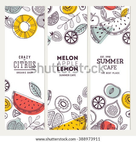 Fruit banner collection. Summer fruit banner set. Vector illustration #388973911