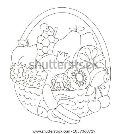Fruit basket cartoon. Outlined illustration with thin line black stroke