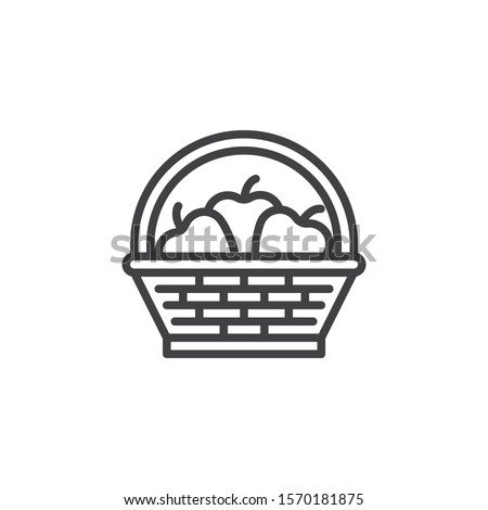 Fruit basket line icon. linear style sign for mobile concept and web design. Wicker basket with apples outline vector icon. Symbol, logo illustration. Vector graphics Stock photo ©