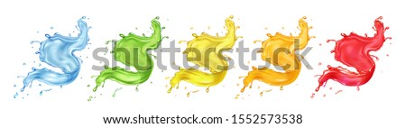 Fruit  berries splashing juice or jam set. Colored paint splashes realistic vector collection.