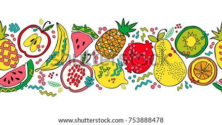 Fruit border. Apple, pear, banana, pomegranate, watermelon, pineapple, lemon, kiwi, orange. Seamless. White background.
