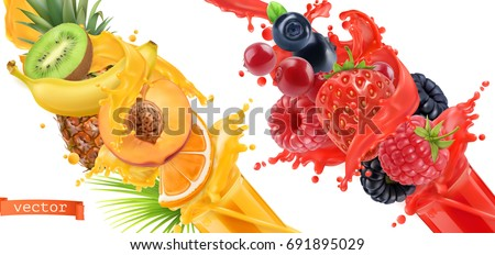 Shutterstock Fruit burst. Splash of juice. Sweet tropical fruits and mixed forest berries. 3d realistic vector icon set