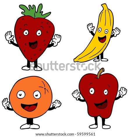 stock vector fruit cartoon characters 59599561