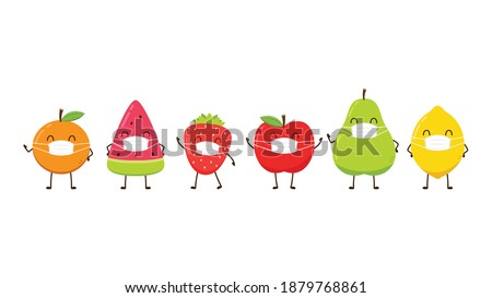 Fruit character designs. Fruit characters on white background. Fruit wearing a face mask.