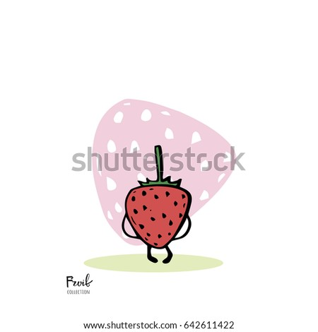 Fruit character on white background