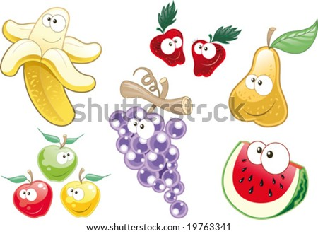 Fruit Characters. Funny cartoon and vector illustration.