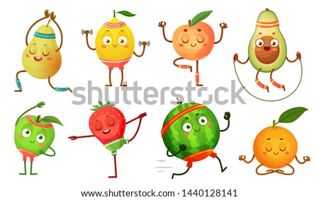 Fruit characters yoga. Fruits in fitness exercises poses, wellness food and funny sport fruit. Tropical fruit workout pose, healthy gym sport character. Isolated cartoon vector icons illustration set